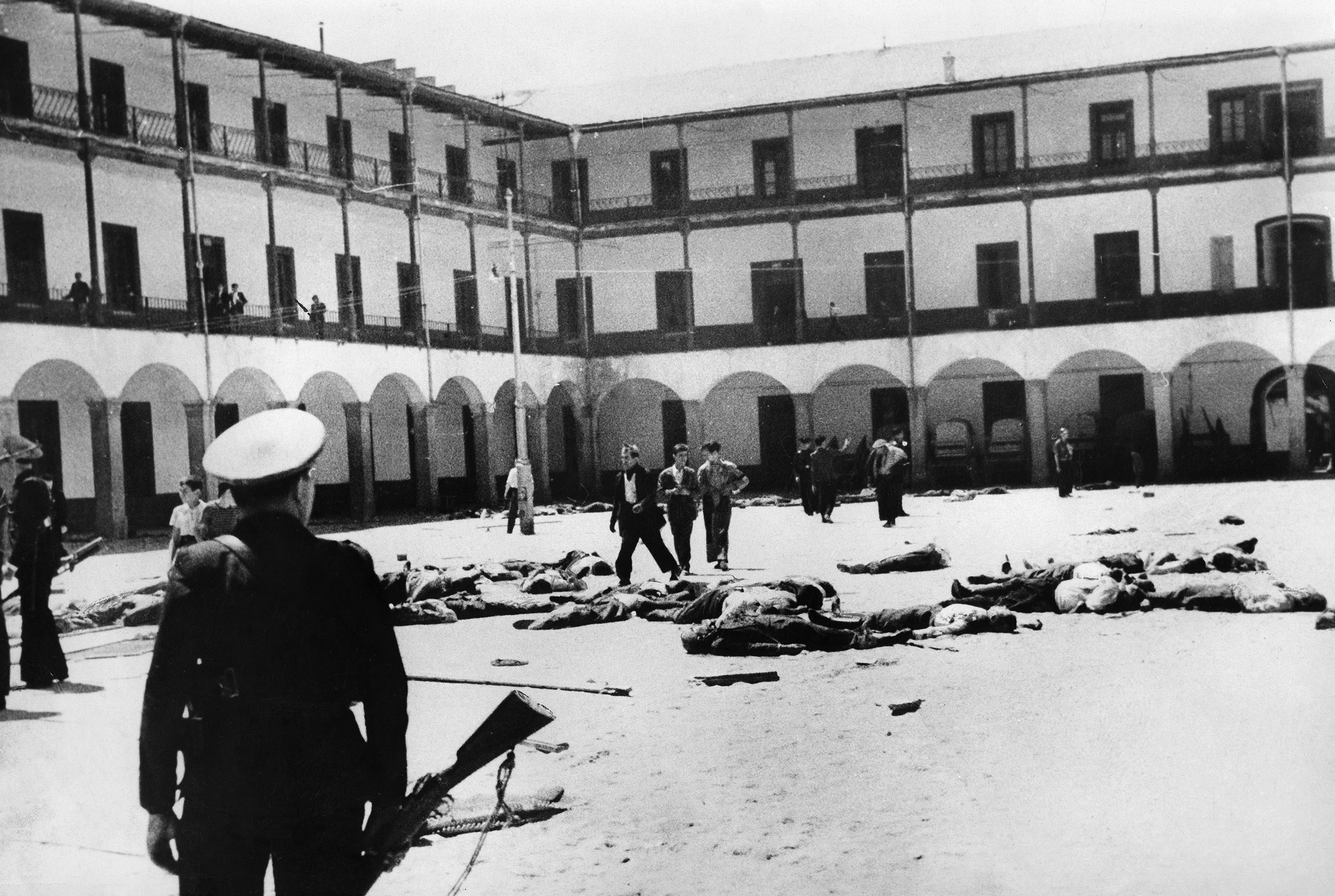 Republican troops standing in the recently seized Montana Barracks in Madrid, on July 19, 1936.