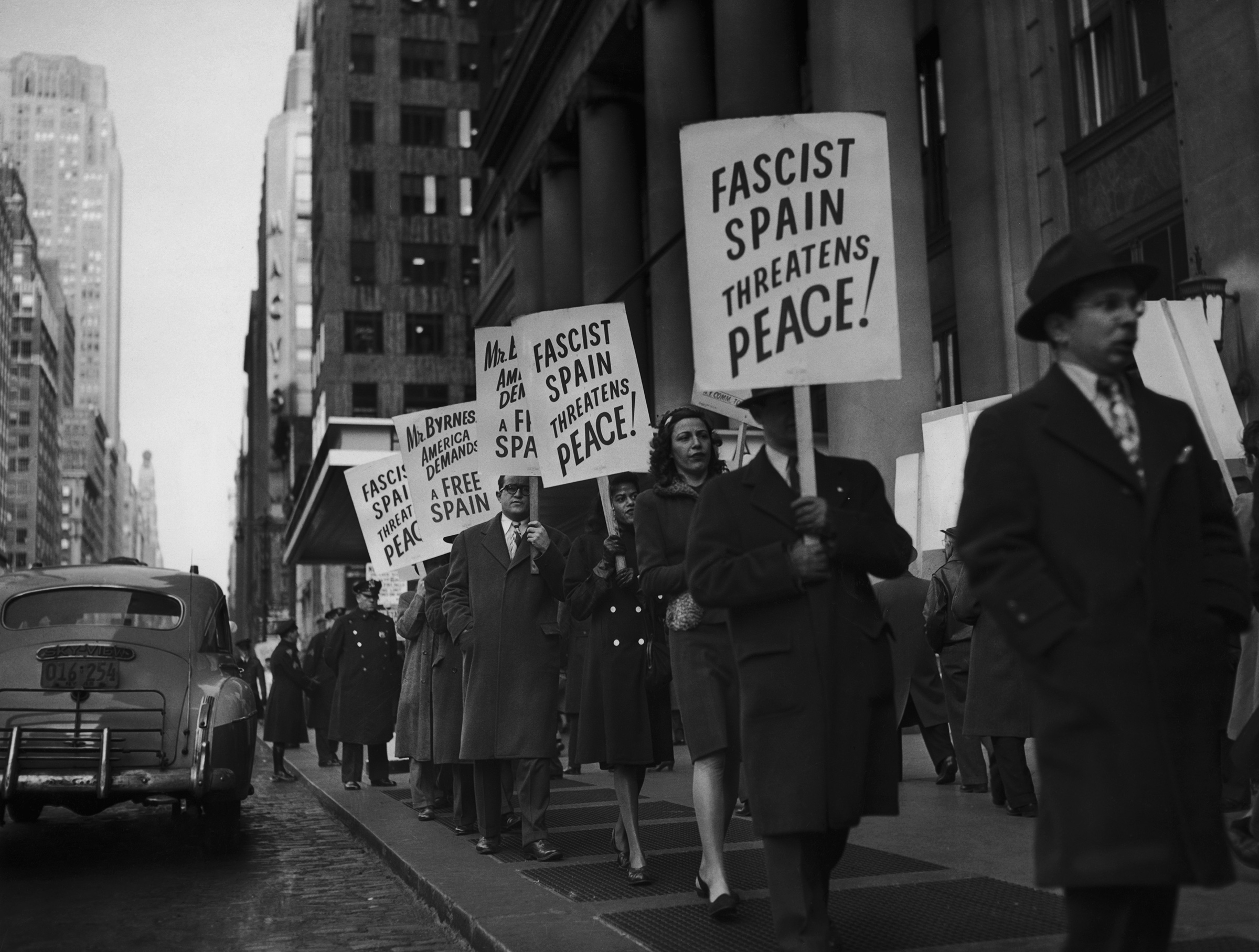 A demonstration against Francisco Franco outside the headquarters of the United States delegation to the United Nations in the Hotel Pennsylvania in New York City, Jan. 2, 1946.