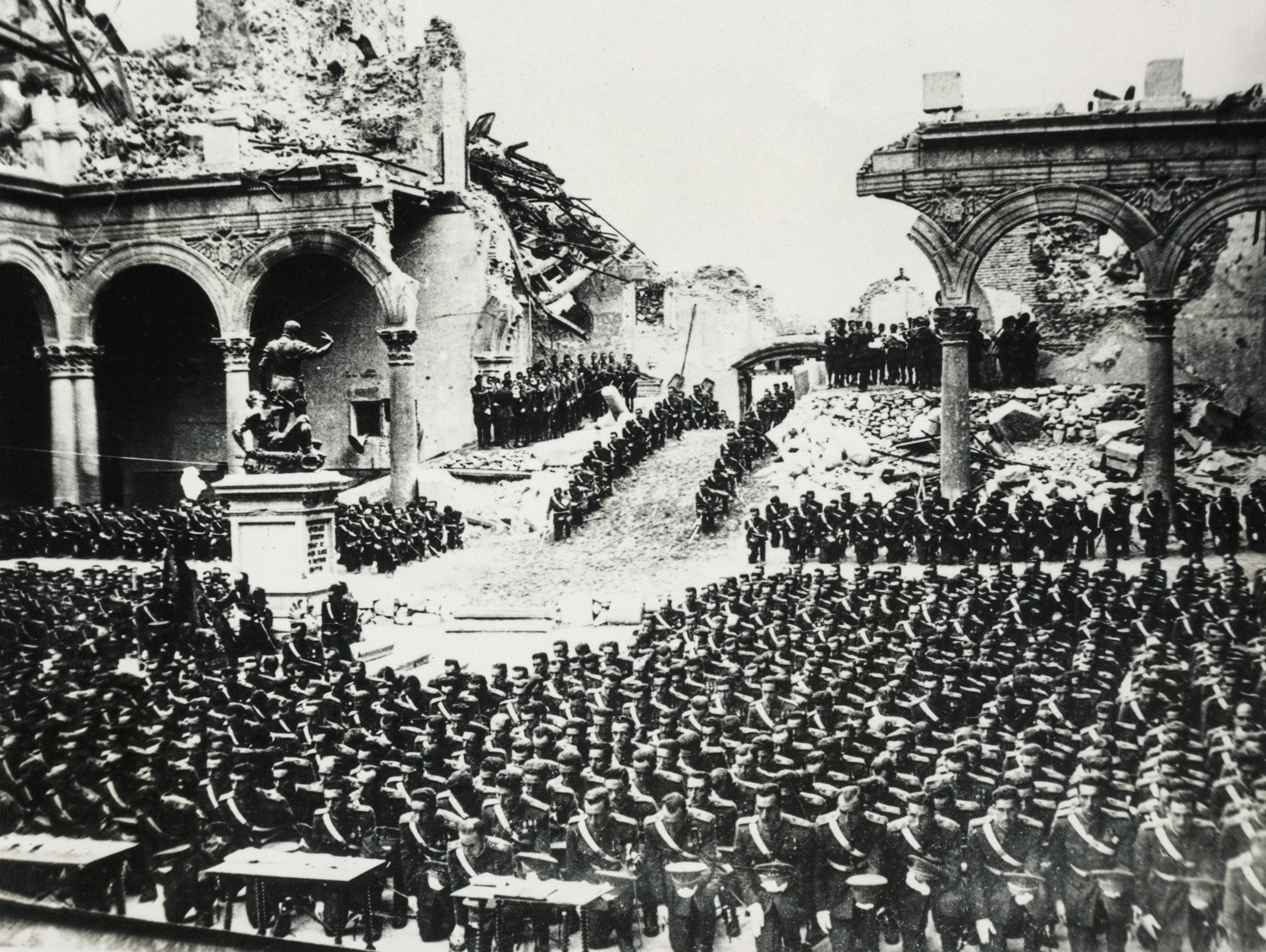 Cadets from the Francoist army swearing allegiance in the Alcazar in Toledo, Spain, after it was destroyed by bombing, in 1937.
