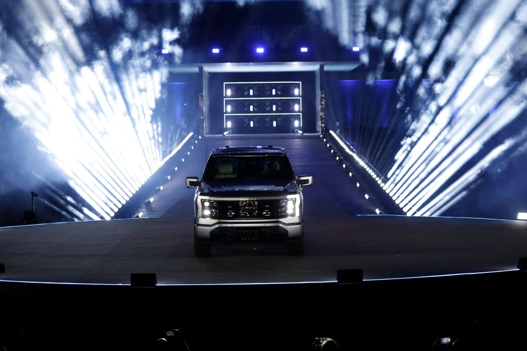 Ford Motor Company unveils its new electric F-150 Lightning outside of its headquarters in Dearborn, Michigan on May 19, 2021.