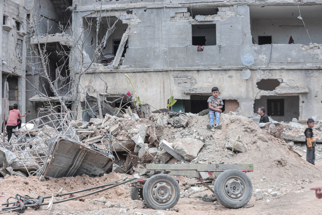 A destroyed house seen after a ceasefire between Israel and Gaza fighters, in Beit Hanun town northern Gaza Strip, 21 May  2021.