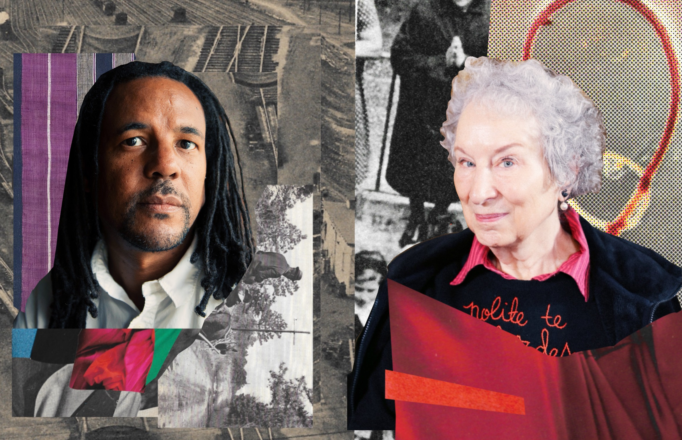 Colson Whitehead, author of The Underground Railroad, and Margaret Atwood, author of The Handmaid's Tale