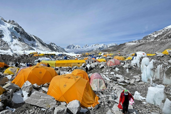 Tents of mountaineers are pictured at the Everest base camp in Solukhumbu district, Nepal, on May 3