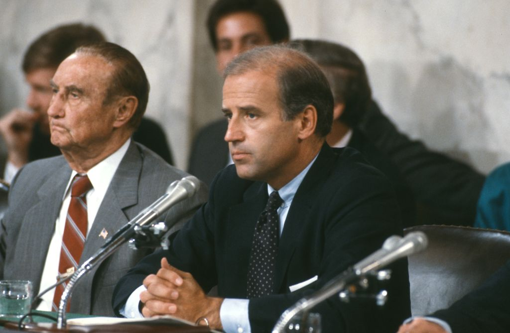 Chairman of the Senate Judiciary Committee Joseph Biden during a hearing in Washington DC on September 15, 1987.