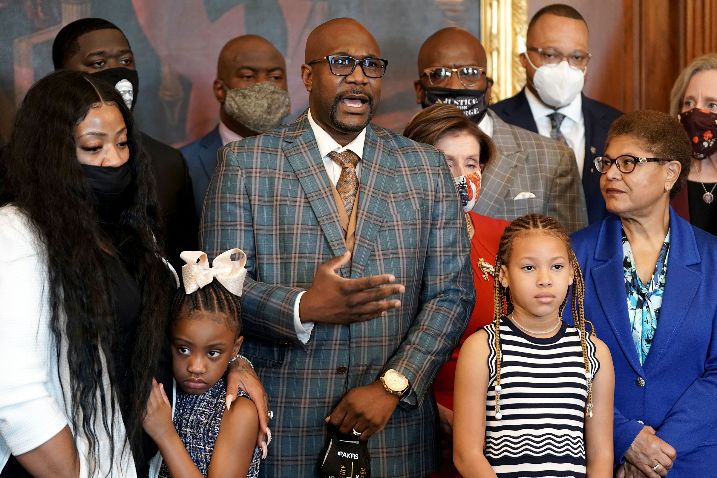 Philonise Floyd, the brother of George Floyd, speaks as he and members of the Floyd family meet with House Speaker Nancy Pelosi and Rep. Karen Bass in the Rayburn Room of the Capitol in Washington, on May 25, 2021.