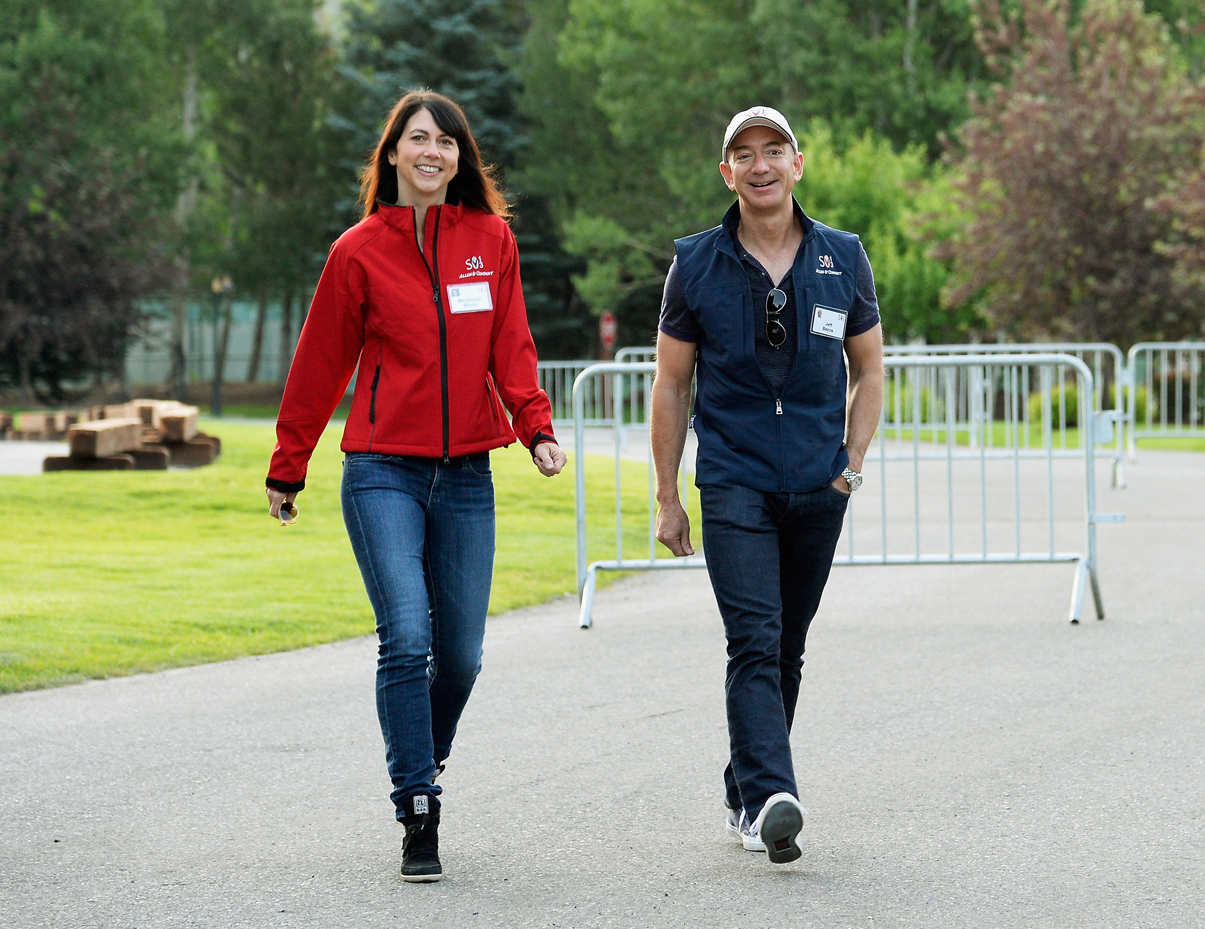 MacKenzie Scott and Jeff Bezos in Sun Valley, Idaho for the Allen & Co. annual conference on July 10, 2013.