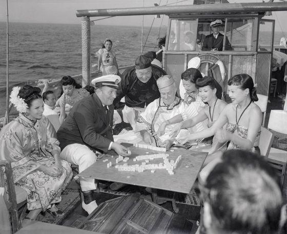 Robert Ripley and Guests Playing Mah Jong on His Yacht
