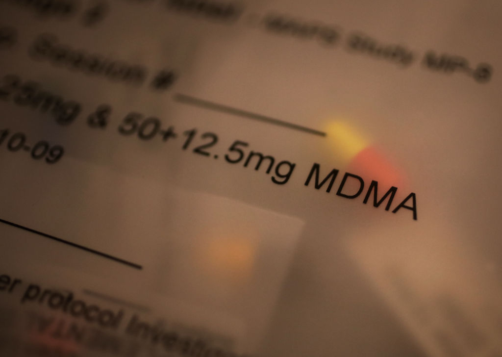 MOUNT PLEASANT, SC, USA - AUGUST 24: A dose of MDMA in the office of Dr. Michael Mithoefer, a psychiatrist, who has studied the use of MDMA as a treatment for PTSD in Mount Pleasant, SC, USA on August 24, 2017. (Photo by Travis Dove for The Washington Post via Getty Images)