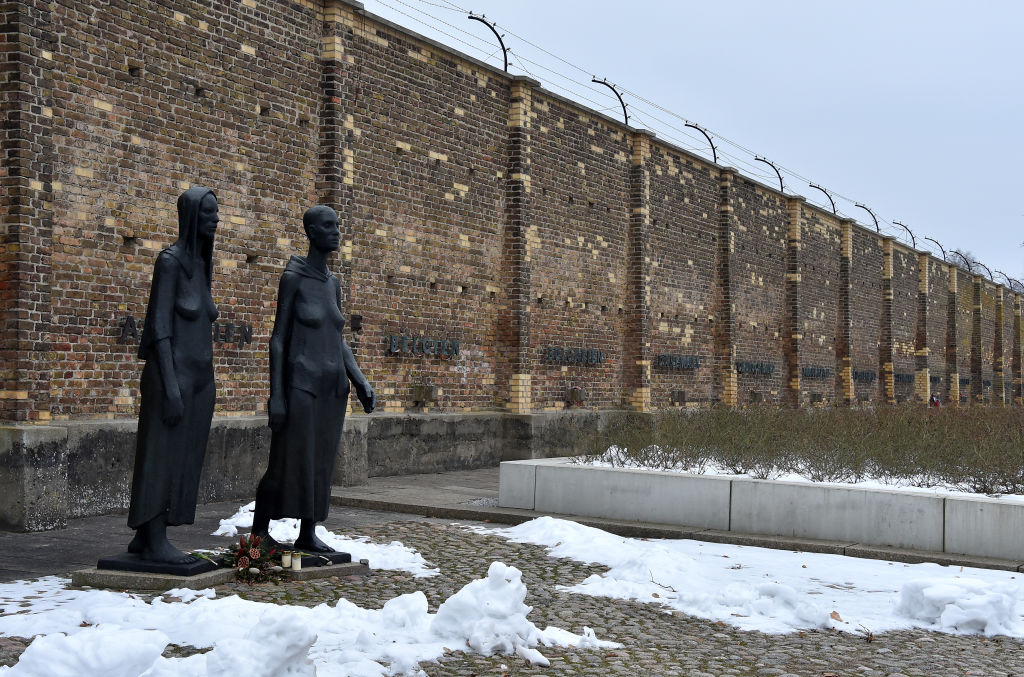 A sculpture at the site of the women's concentration camp Ravensbrueck in Fuerstenberg, Germany, Feb. 8, 2017.