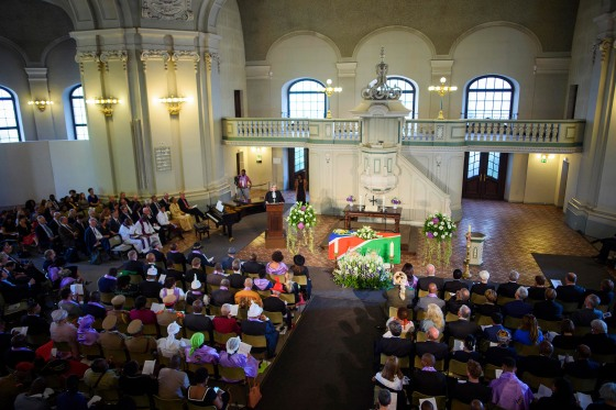 A ceremony is held for the victims of Namibian genocide, at the Friedrichstadt church in Berlin, on Aug. 29, 2018. At the invitation of the Evangelical Church and the Council of Churches in Namibia, the mortal remains of two victims of the genocide 1904-1908 in former German Southwest Africa are returned during a divine service.