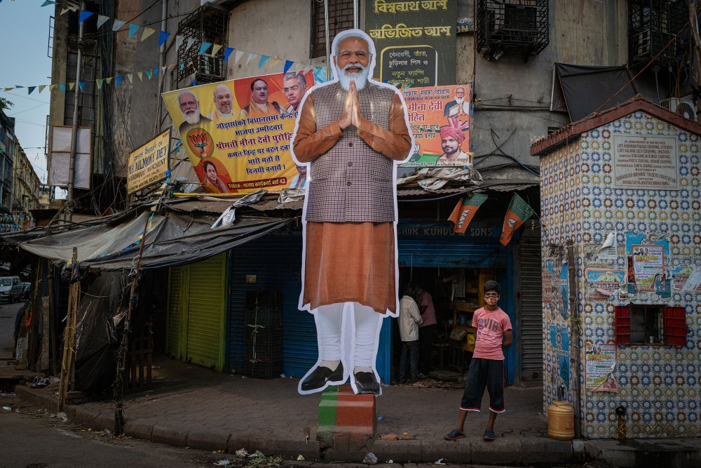 A cut-out depicting Indian Prime Minister Narendra Modi in the streets of Kolkata, in the state of West Bengal, on April 25, 2021. Voters in the state recently handed him a resounding defeat.