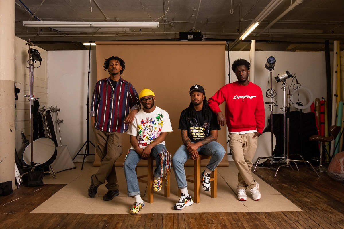 From left, Adrian Javon, Malik Rainey, Derrick Carr and Brandon Watson at their studio in Buffalo, N.Y., on May 5.