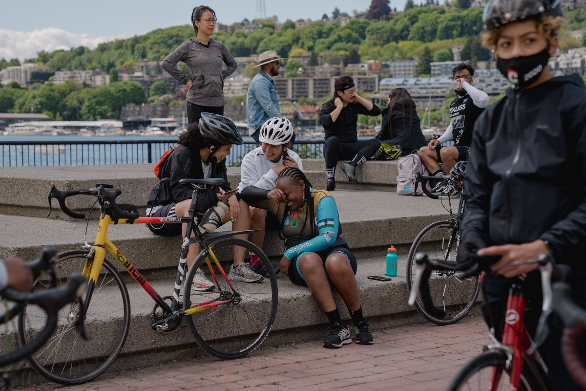 Members of the NorthStar Cycling Club at Gas Works Park in Seattle.
