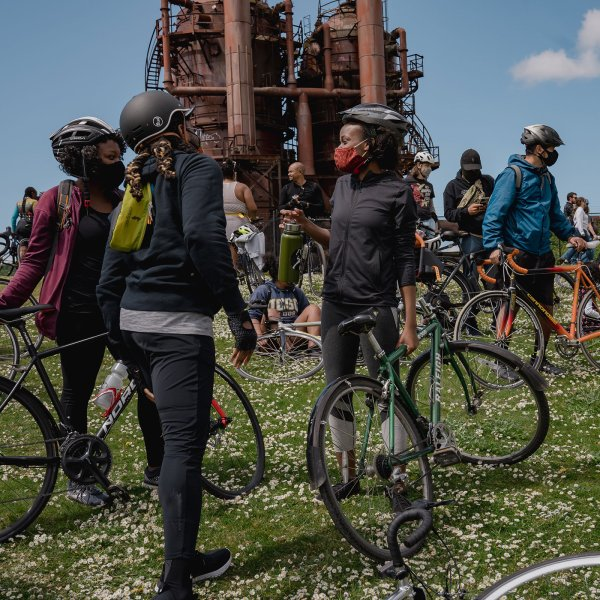 """Members of the NorthStar Cycling Club at Gas Works Park in Seattle, during the club's weekly """"Sunday Service"""" ride, on May 2, 2021."""