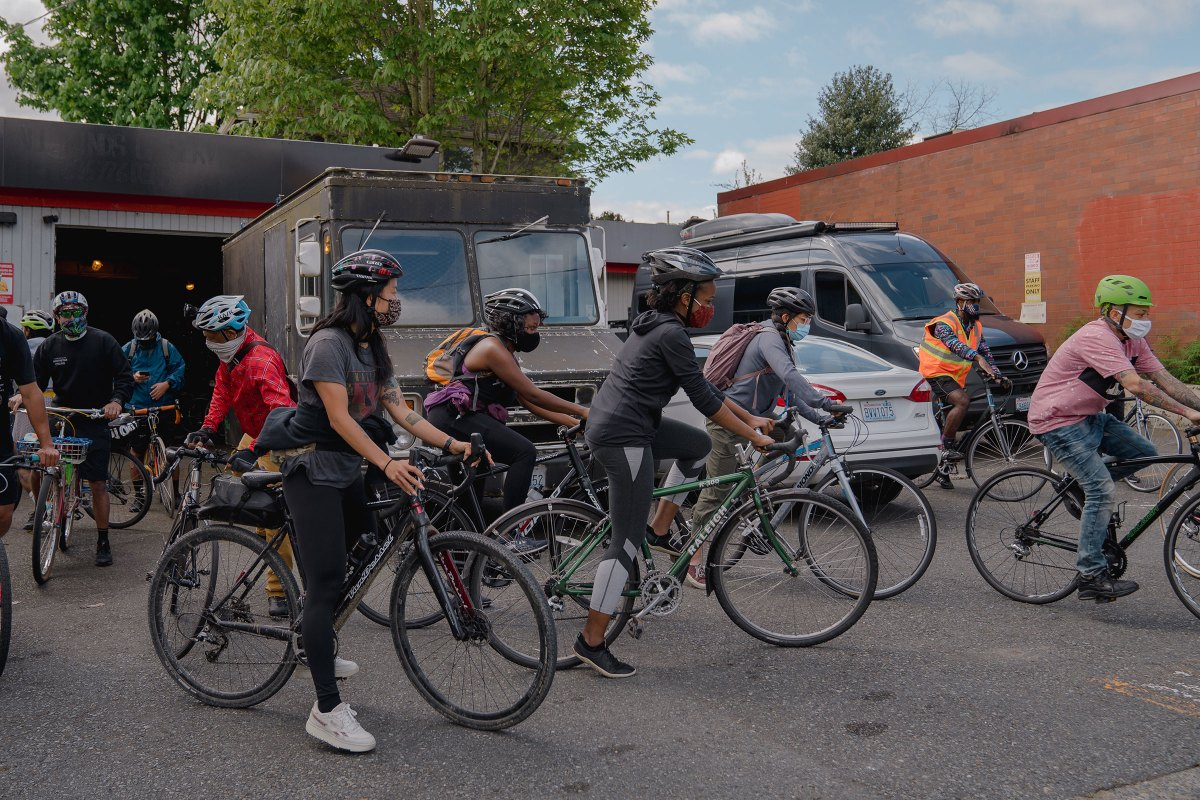 The NorthStar Cycling Club leaves the Central District in Seattle, to ride to Gas Works Park.