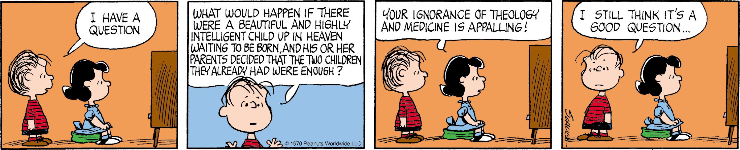 A Peanuts comic strip from July 20, 1970
