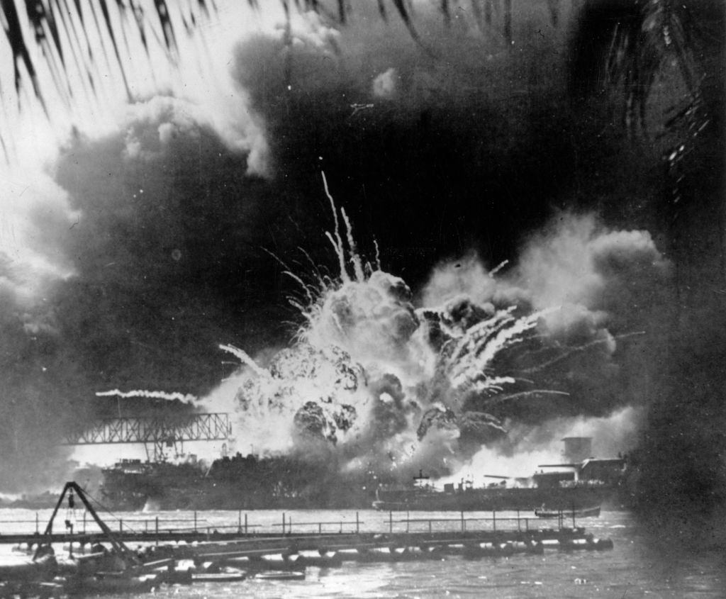 The USS Shaw exploding during the Japanese attack on the U.S. Pacific fleet at their base in Pearl Harbor on Dec. 7, 1941, on the island of Oahu, Hawaii.