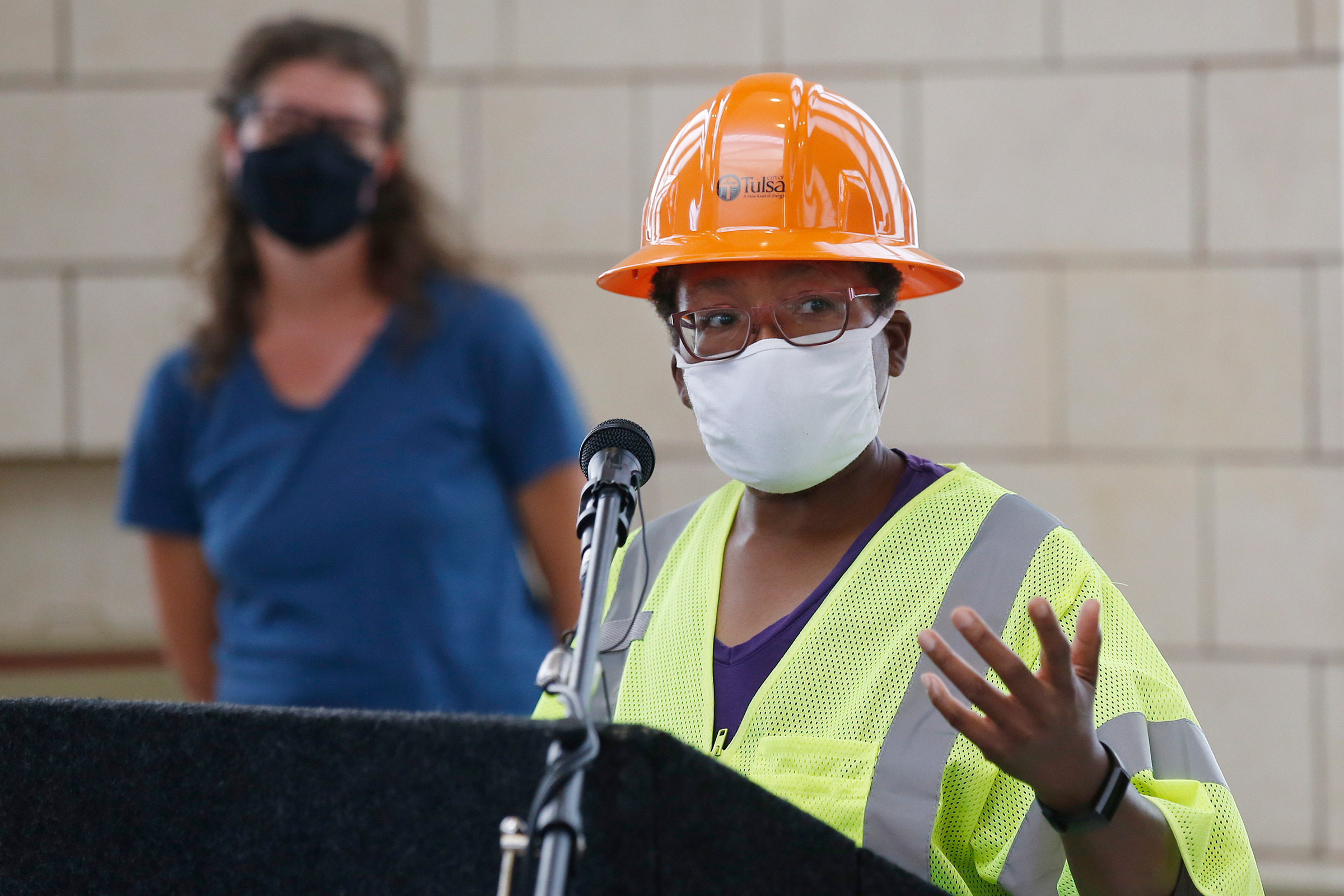 Stubblefield speaks during a news conference as work continues on an excavation of a potential unmarked mass grave from the 1921 Tulsa Race Massacre at Oaklawn Cemetery on July 14, 2020.