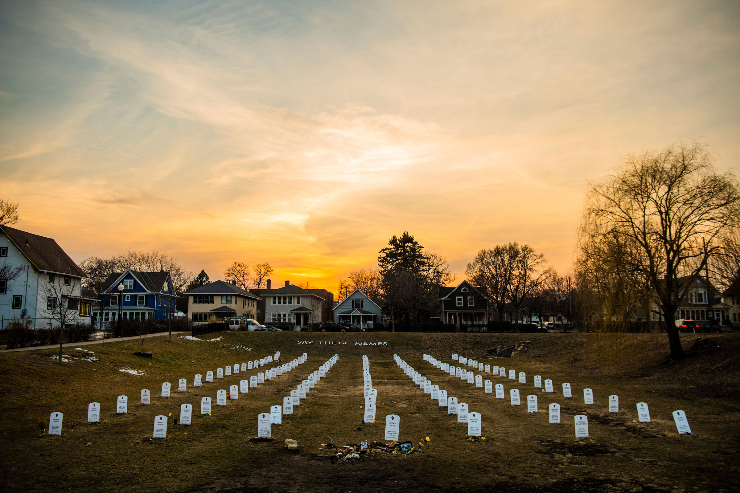 A view of  Say Their Names Cemetery  on March 9, 2021 in Minneapolis, Minnesota.