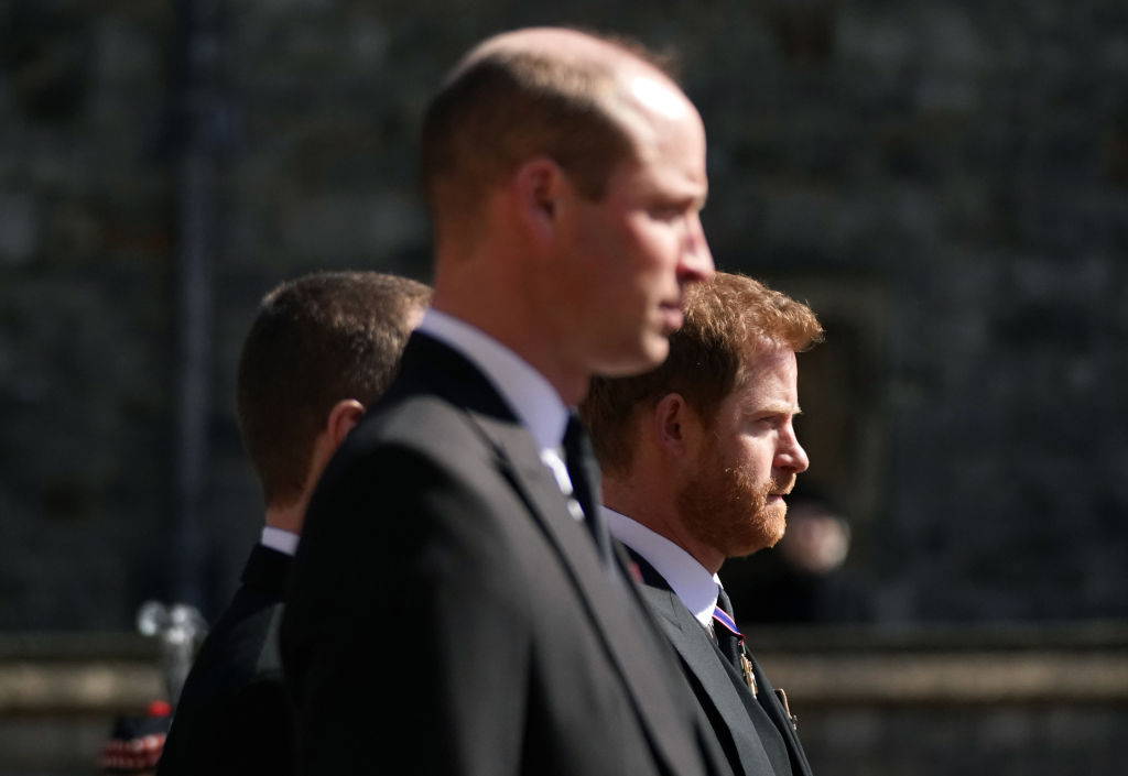 Prince William, Duke of Cambridge and Prince Harry arrive for the funeral of Prince Philip, Duke of Edinburgh at St George's Chapel at Windsor Castle on April 17, 2021 in Windsor, England.