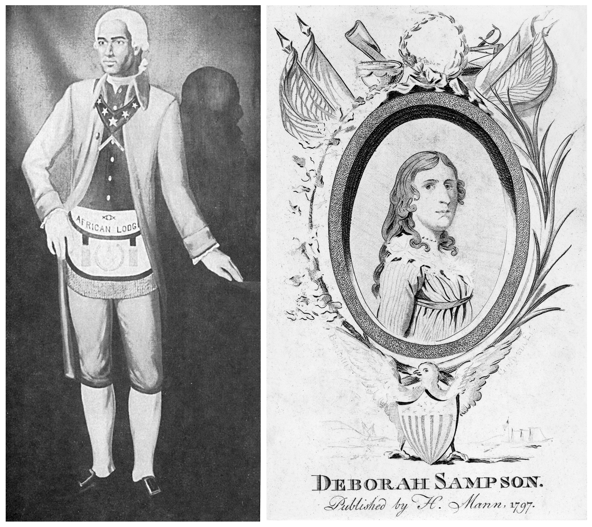 From left: An undated portrait of Prince Hall; an illustration of Deborah Sampson circa 1797