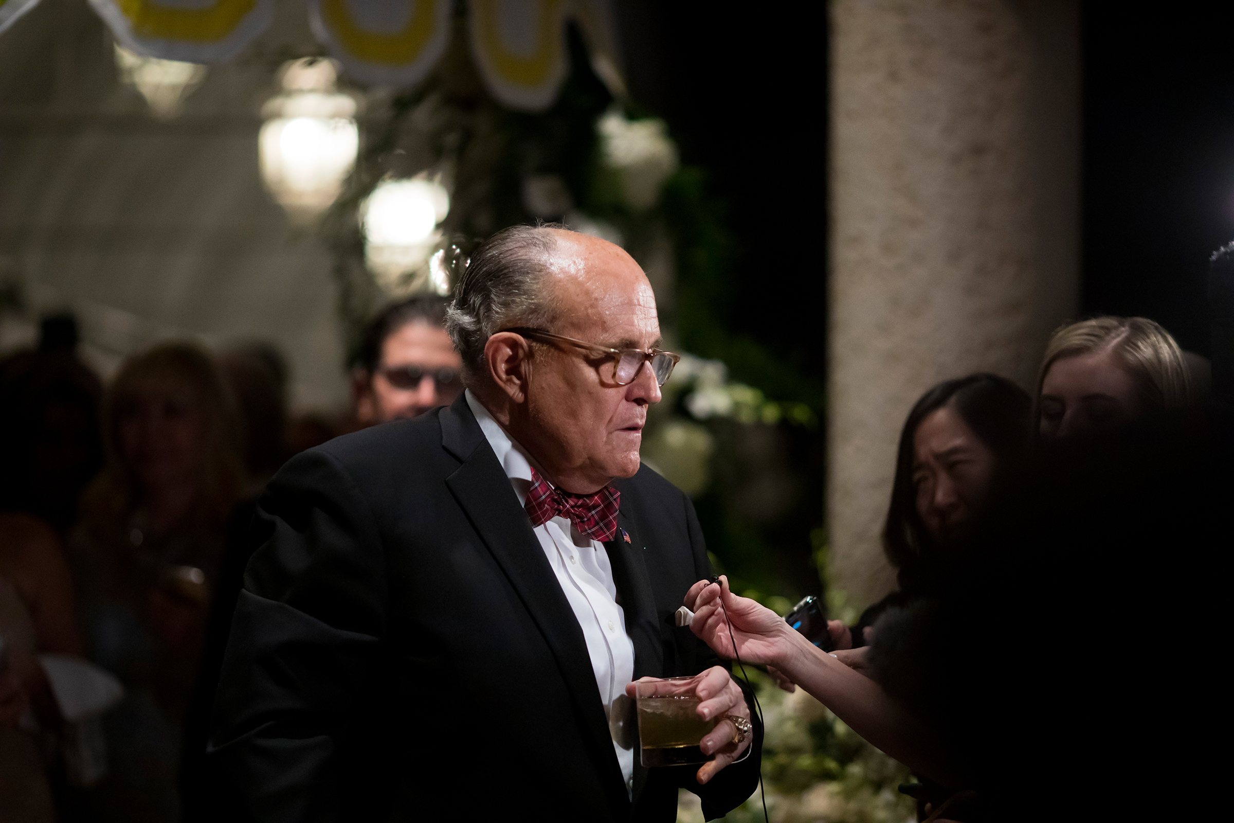 Rudy Giuliani, President Donald Trump's personal lawyer, speaks to reporters at the Mar-a-Lago resort in Palm Beach, Fla., on Dec. 31, 2019.