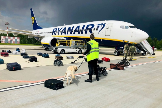 A Belarusian dog handler checks luggage after the Ryanair flight landed in Minsk on May 23, 2021.