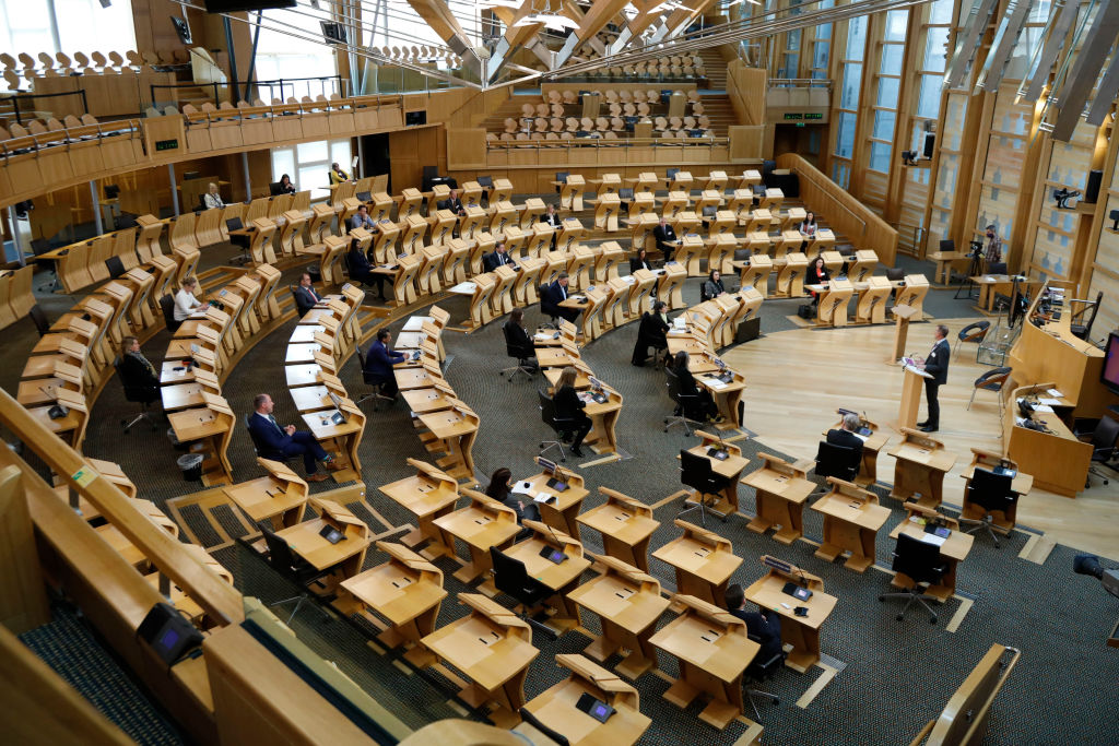 Newly elected members are welcomed to the Scottish Parliament chamber at Holyrood on May 10, 2021 in Edinburgh, Scotland.