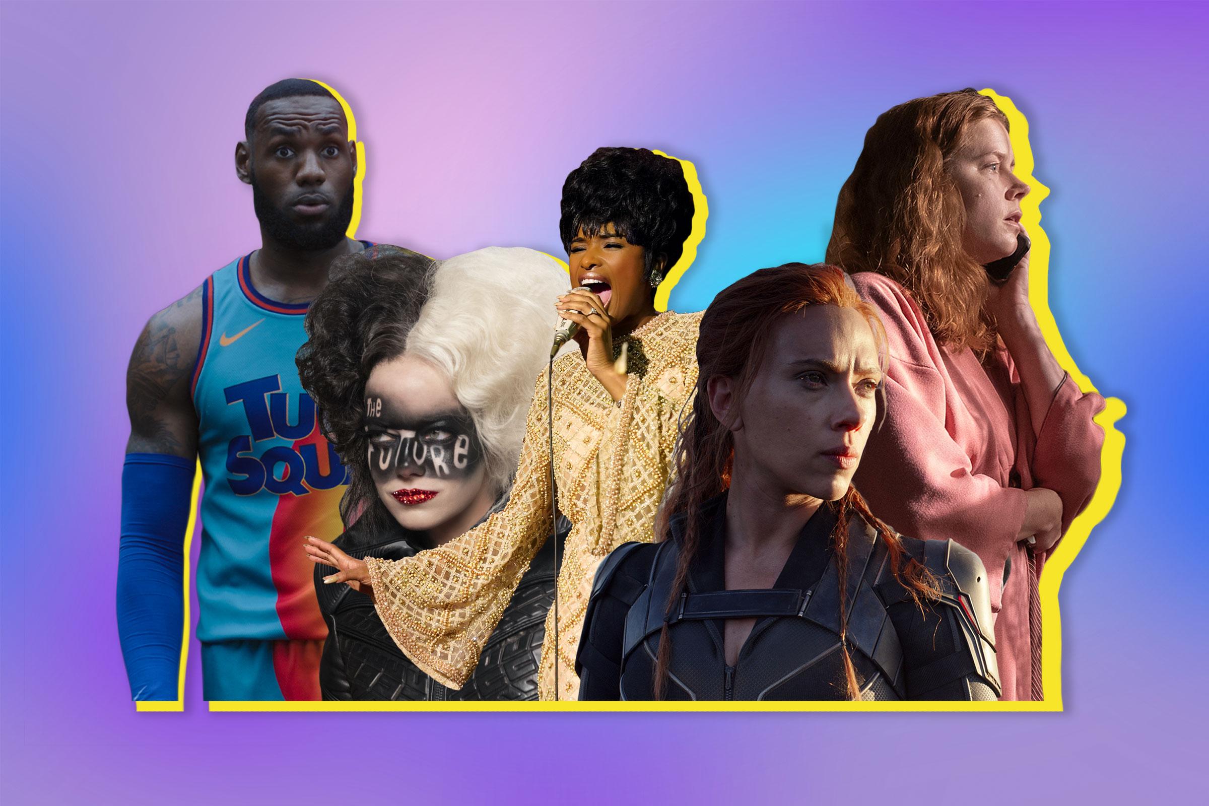 Lebron James in Space Jam: A New Legacy; Emma Stone in Cruella; Jennifer Hudson in Respect; Scarlett Johansson in Black Widow; Amy Adams in The Woman in the Window