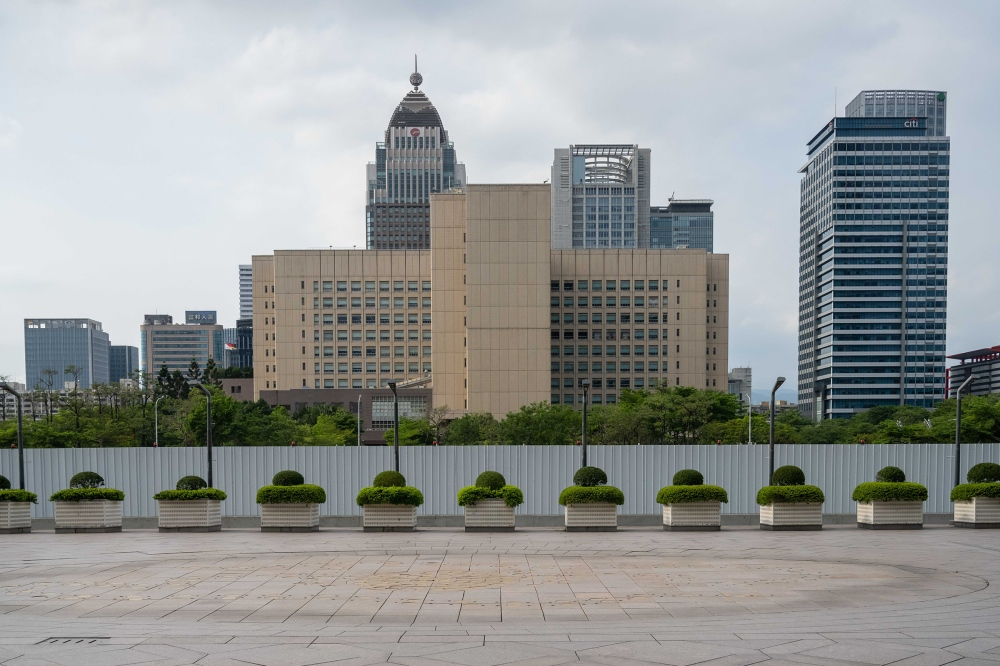 An empty square in Taipei on May 17, 2021. After becoming one of the biggest containment success stories of the pandemic, Taiwan is racing to control a growing outbreak.