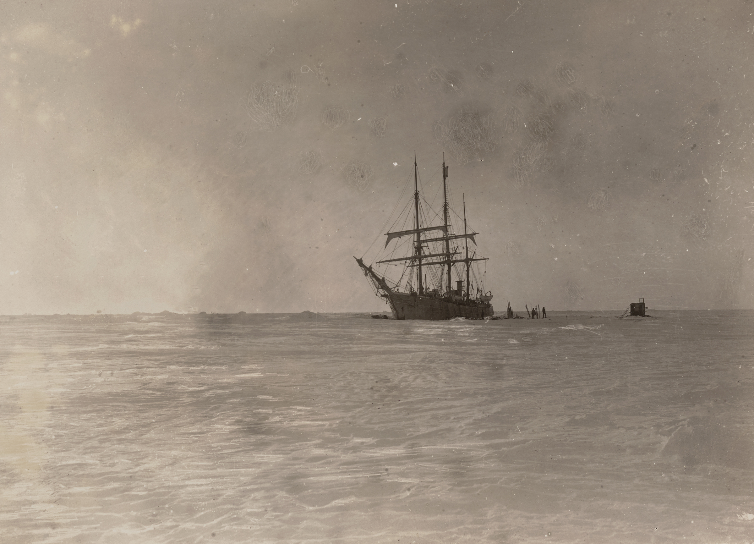 The Belgica, stuck fast in the pack ice of Antarctica's Bellingshausen sea, in 1898. Library of Congress. Frederick A. Cook Society.