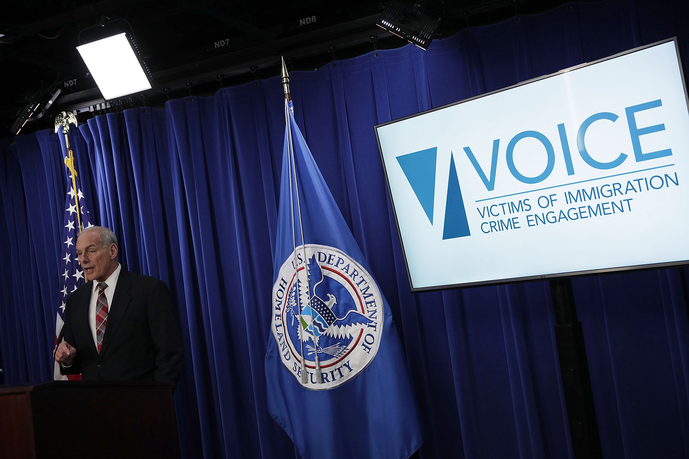 Homeland Security Secretary John Kelly announces the opening of the new Victims of Immigration Crime Engagement (VOICE) office on Apirl 26, 2017. (Alex Wong—Getty Images)
