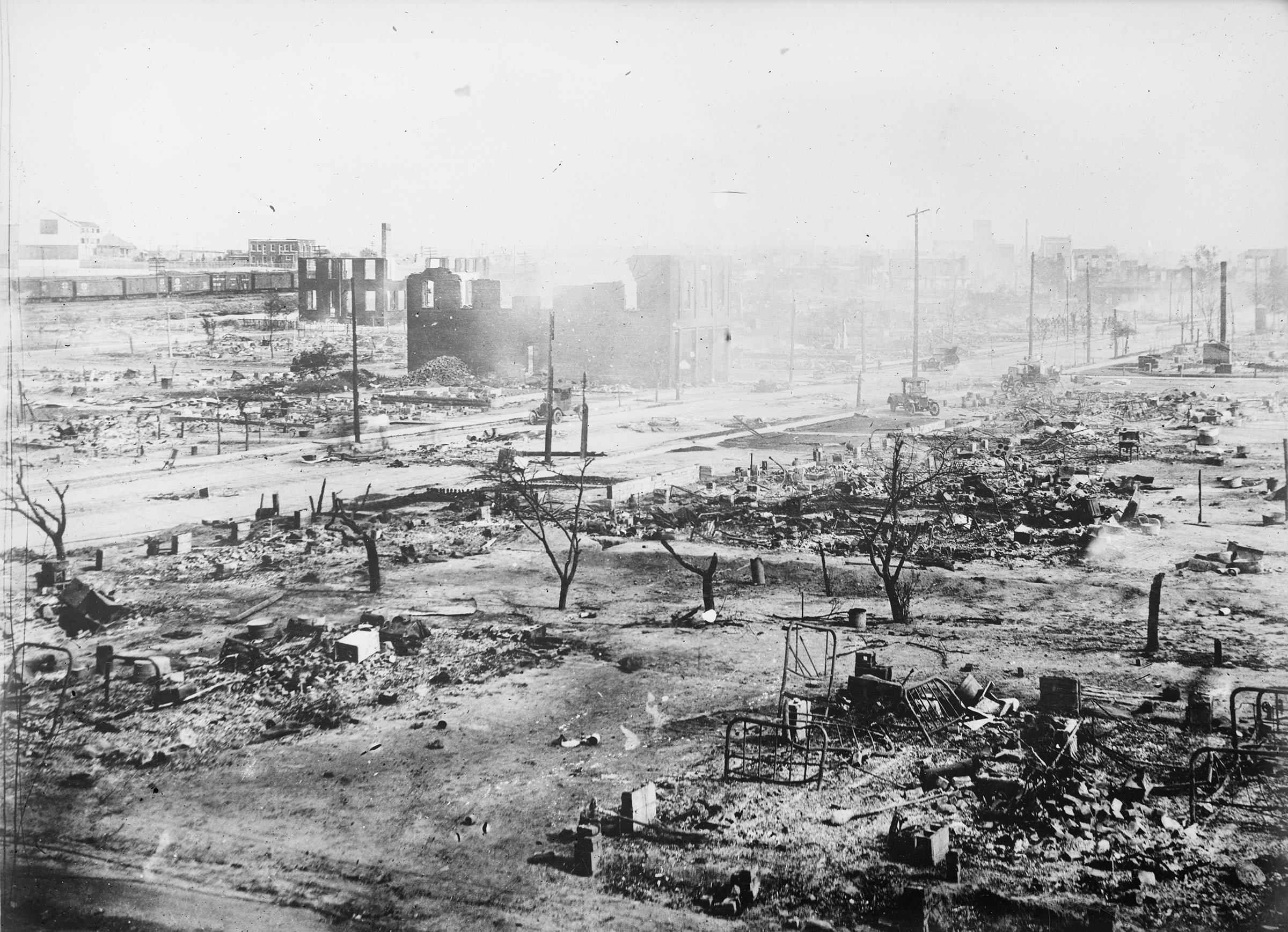 The Greenwood district of Tulsa in 1921, after the Tulsa Race Massacre.