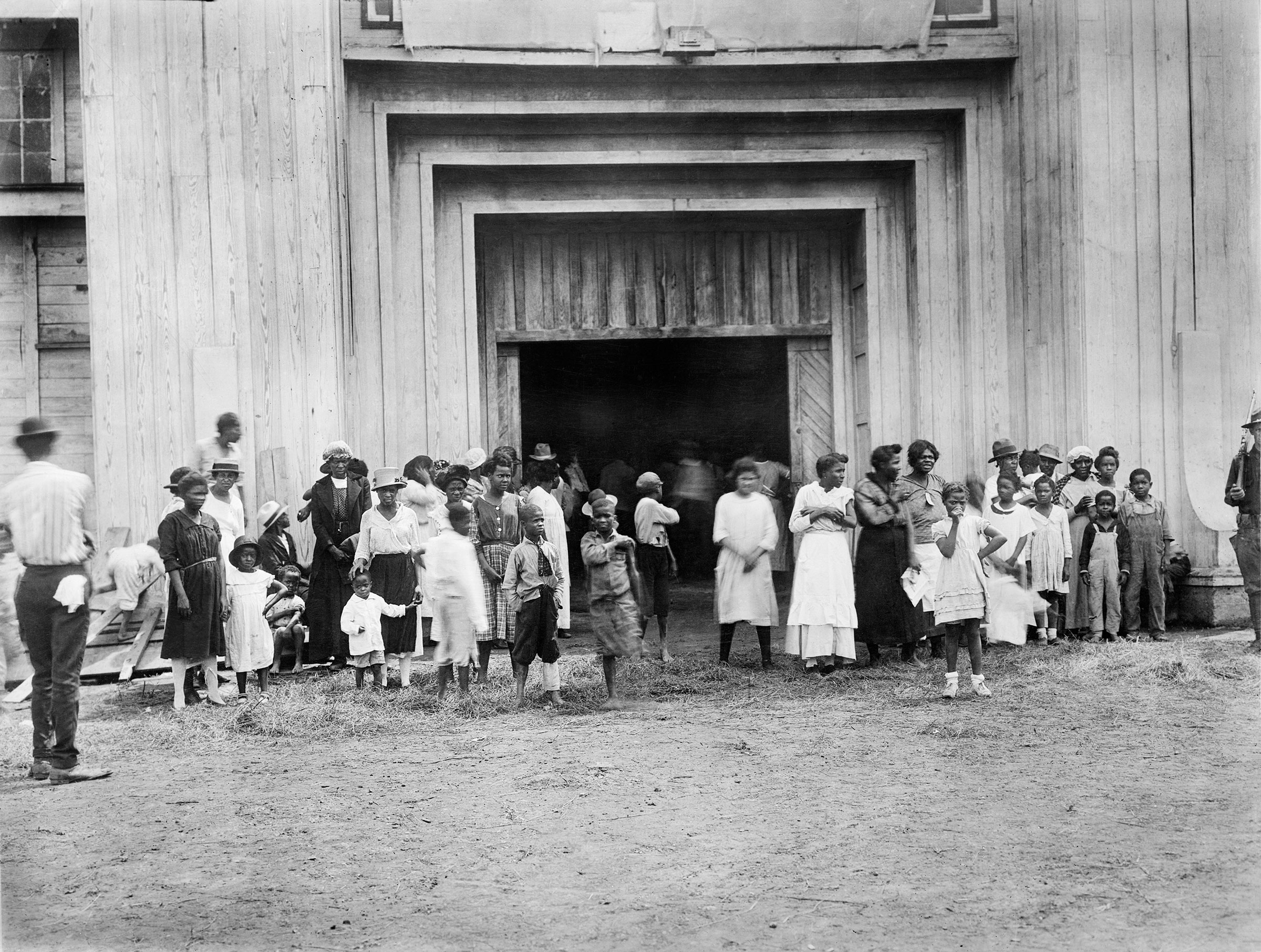Entrance to a refugee camp on fair grounds in Tulsa in June 1921.