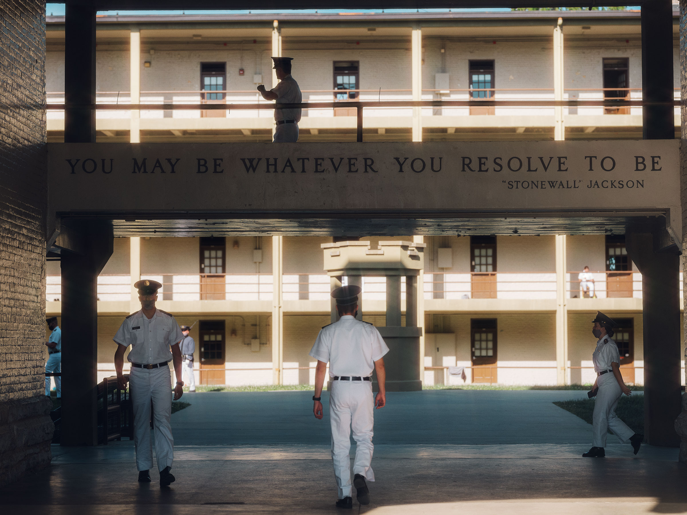 VMI's board voted in May to strip Jackson's name from the mantra adorning the barracks.