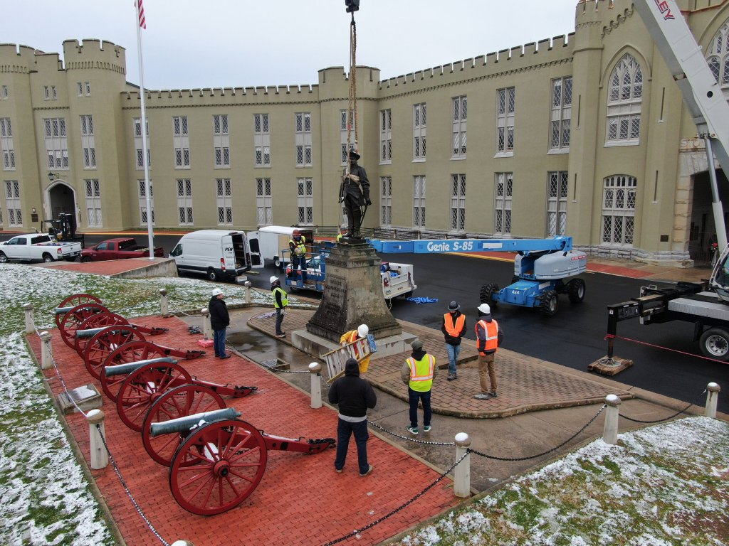 VMI removed the 108-year-old Stonewall Jackson statue on Dec. 7, 2020.