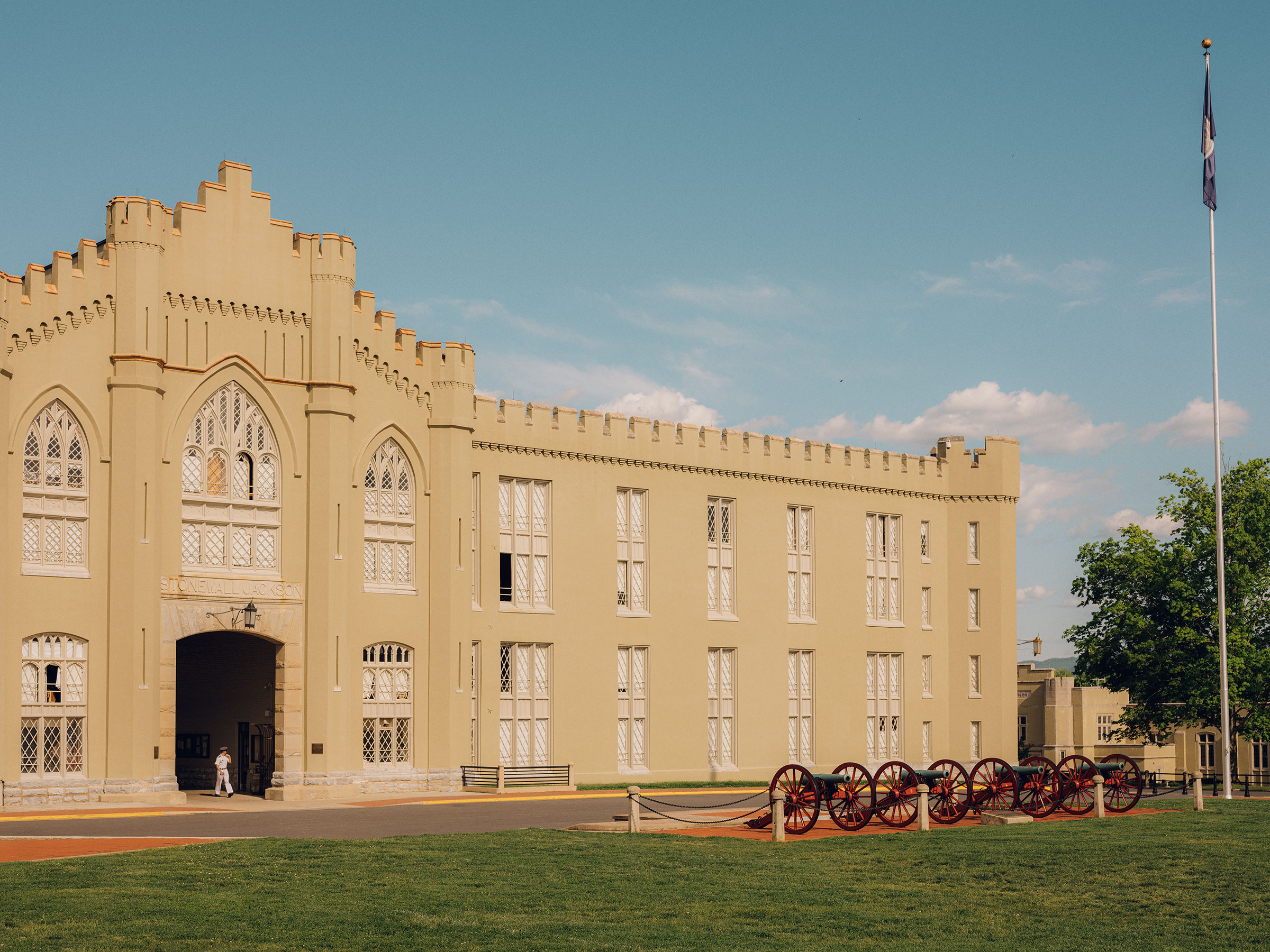 Civil War cannons outside the barracks that                       house Virginia Military Institute's cadets in Lexington, Va. on May 6, 2021.