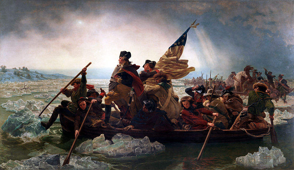Washington Crossing the Delaware (by Emanuel Leutze, American, 1816 - 1868), 1851. From the Metropolitan Museum of Art, New York. Oil on canvas.