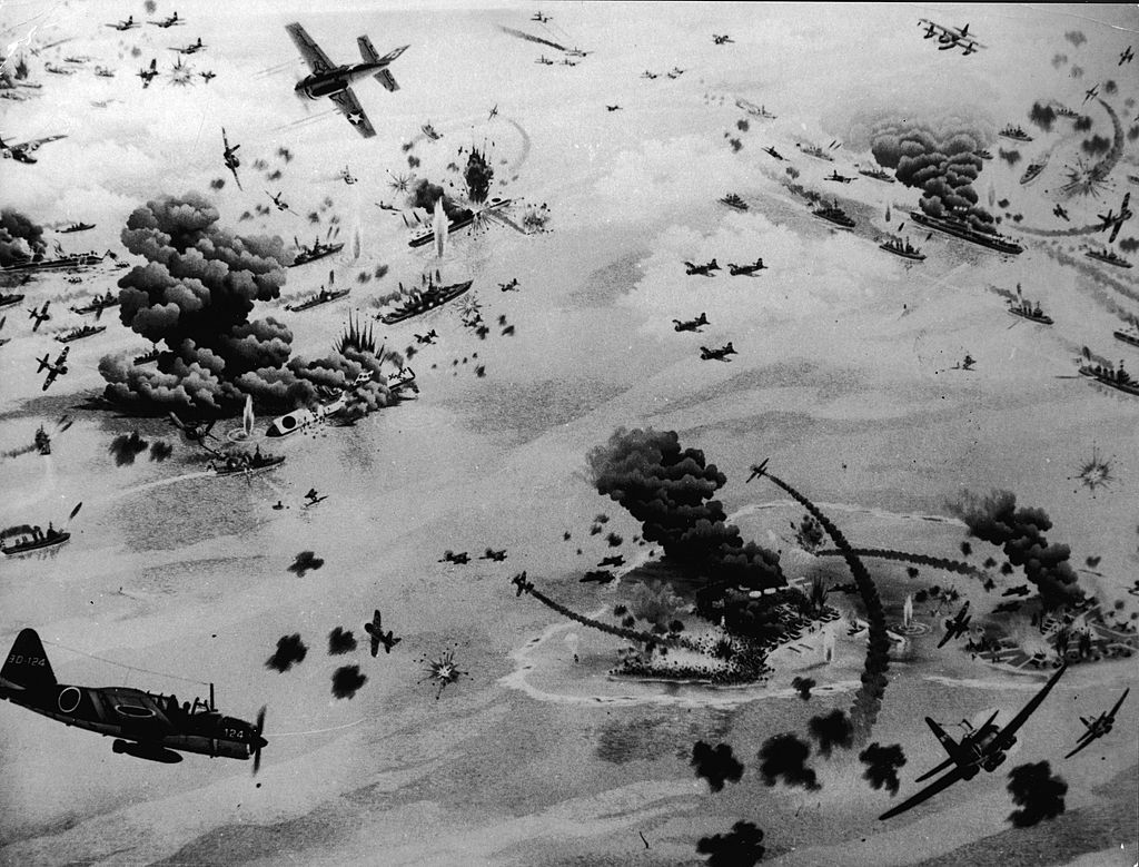 An artist's impression of the Battle of Midway, during World War II, June 1942.