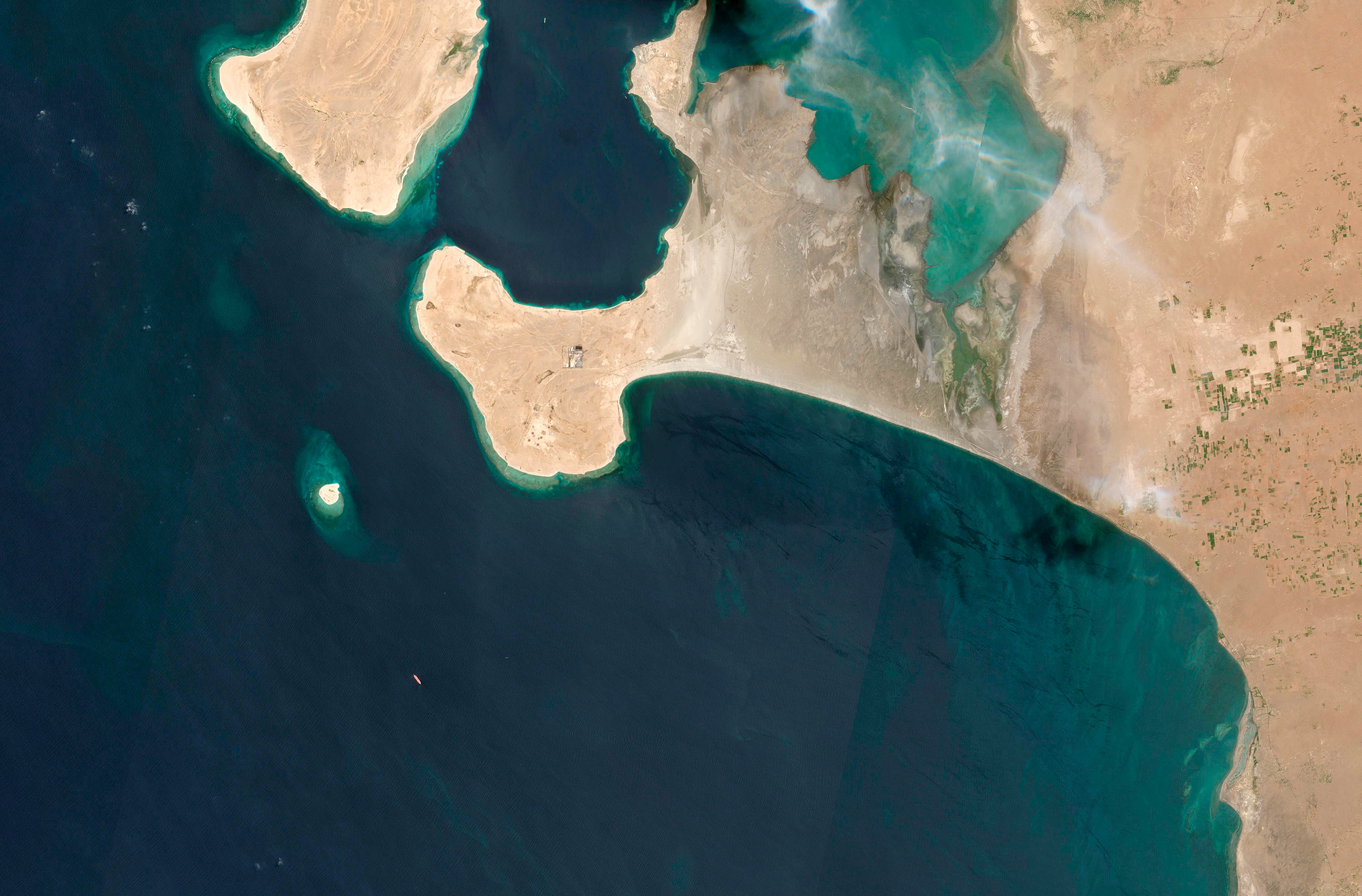 A satellite image from June 19, 2020, shows the FSO Safer off the coast of Yemen.