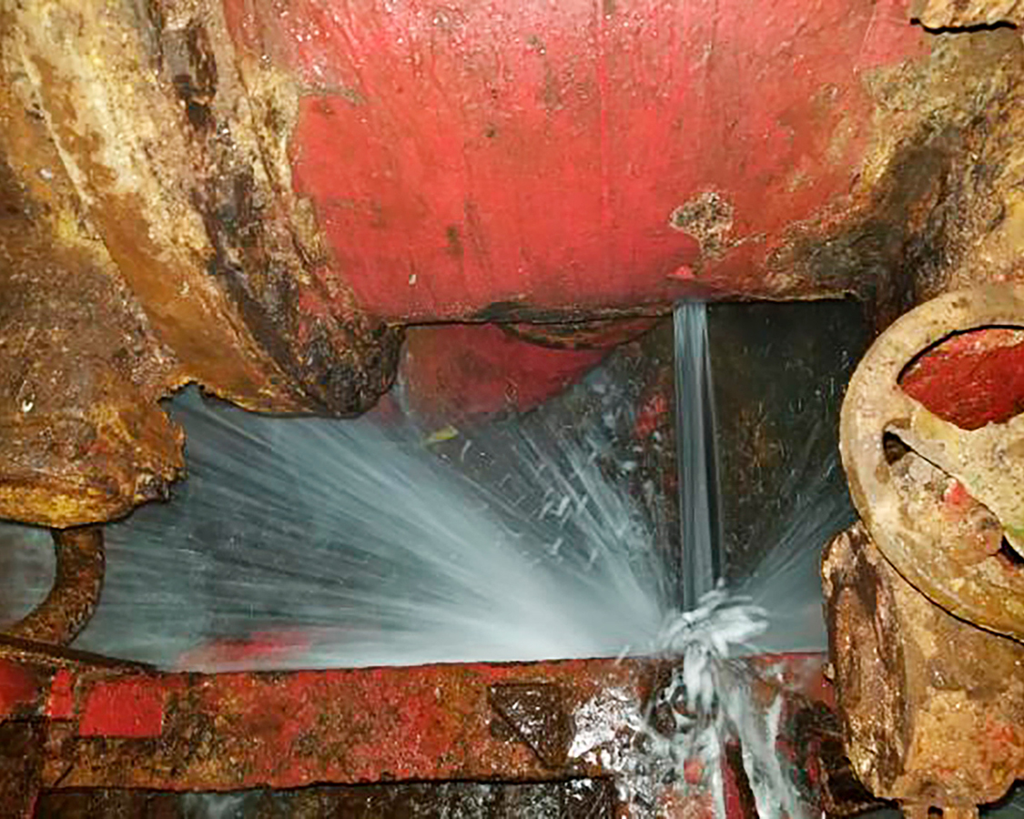 A previously unpublished image of a seawater-pipe leak in the engine-room compartment in May 2020.