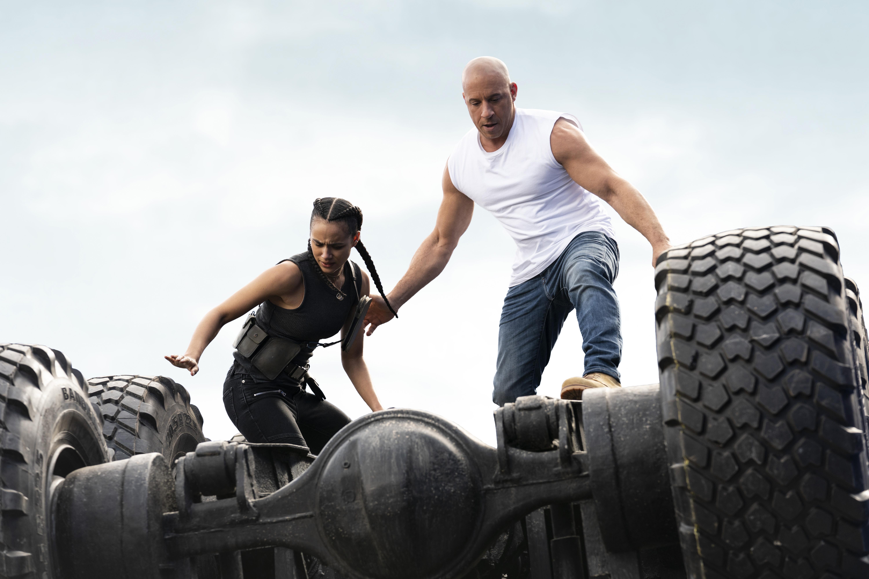 Nathalie Emmanuel and Vin Diesel in 'F9'