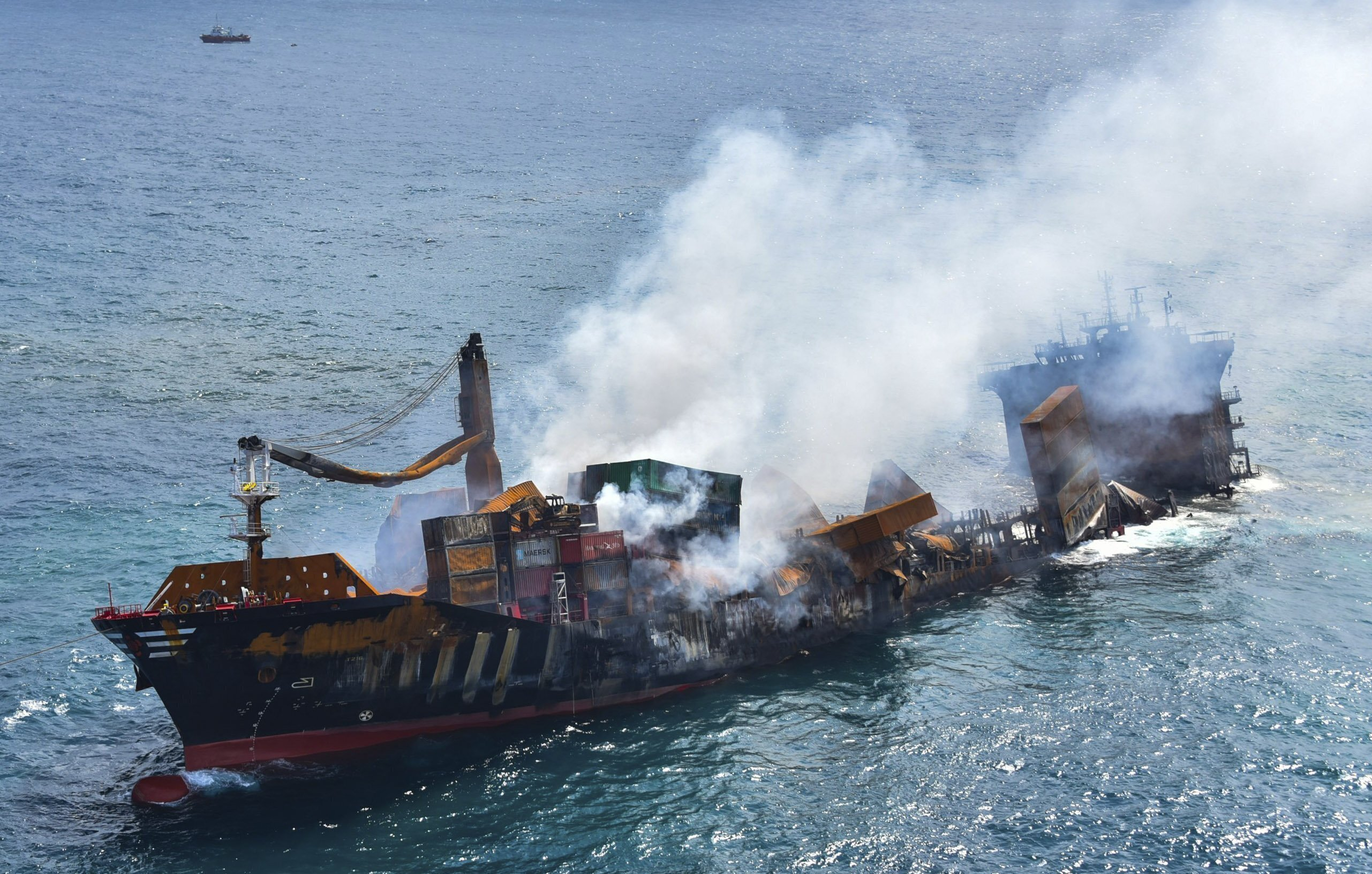 This photo provided by Sri Lankan Air Force shows the sinking MV X-Press Pearl at Kapungoda where it is anchored off Colombo port, Sri Lanka, on Wednesday, June 2, 2021.