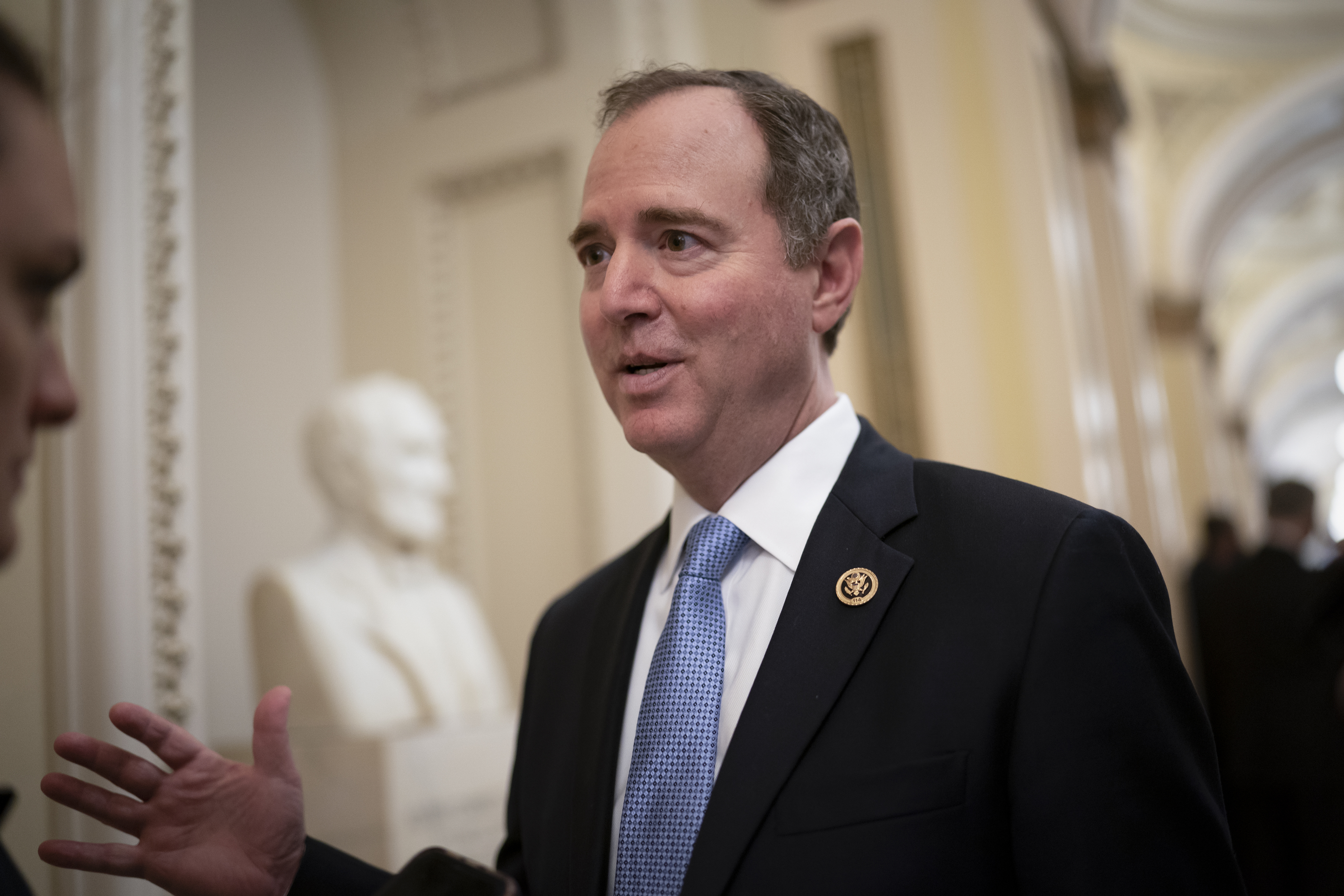 In this Tuesday, March 3, 2020, file photo, House Intelligence Committee Chairman Adam Schiff, D-Calif., talks to reporters as lawmakers work to extend government surveillance powers that are expiring soon, on Capitol Hill in Washington. House Speaker Nancy Pelosi and other top Democrats called for an investigation on Thursday, June 10, 2021, after The New York Times reported that the Justice Department under President Donald Trump seized the communications data of members of the House Intelligence Committee, including those of Schiff.
