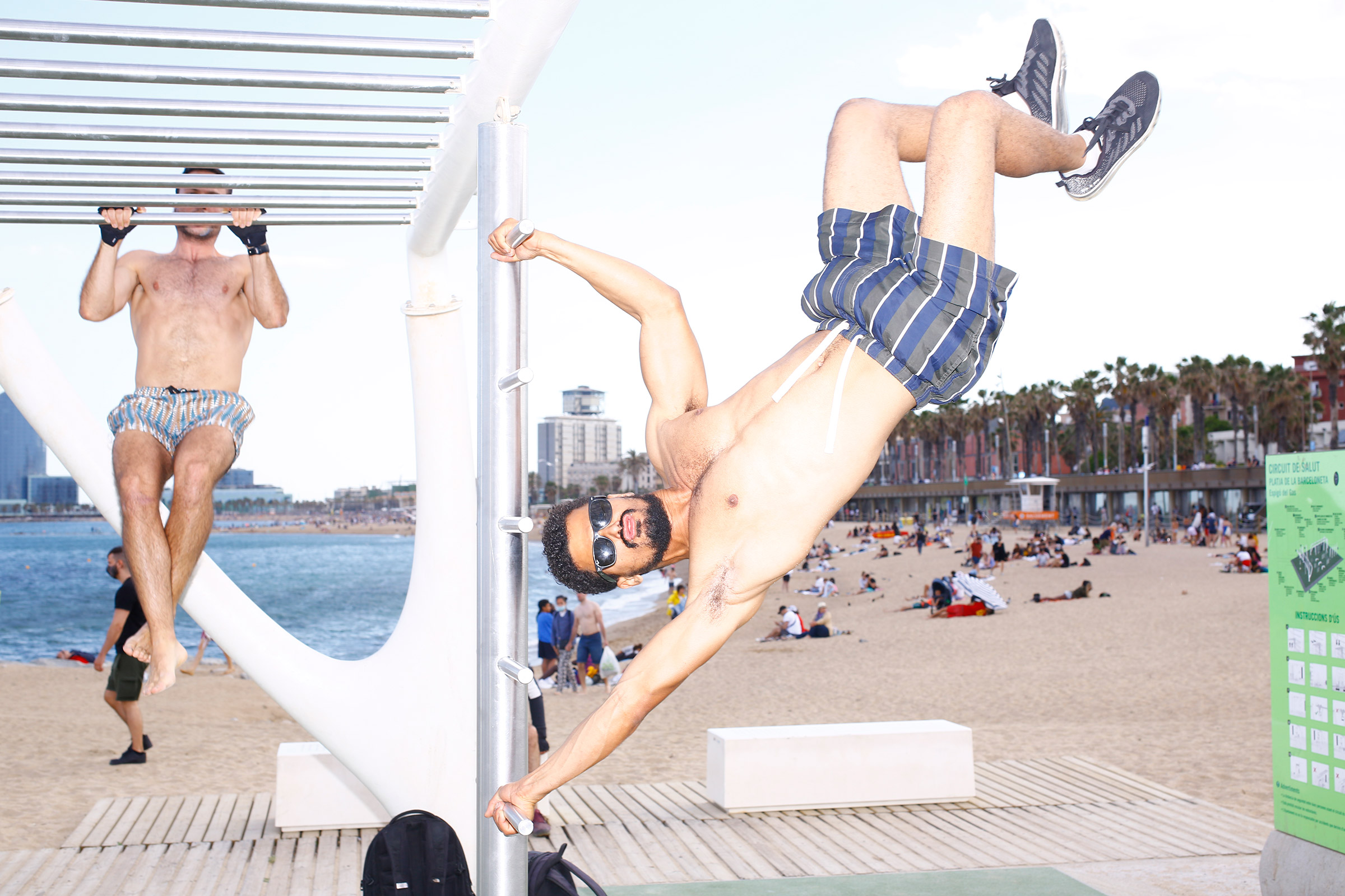 A work out session at Barceloneta Beach on June 6.