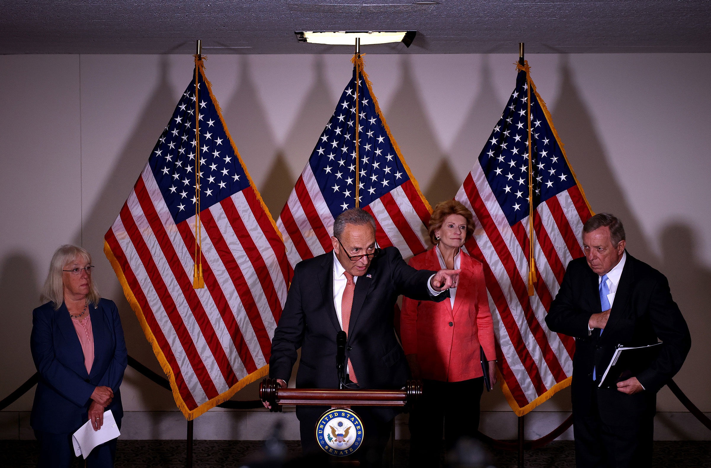 Senate Majority Leader Chuck Schumer speaks alongside Sen. Patty Murray, Sen. Debbie Stabenow, and Sen. Richard Durbin at a press conference following a Senate Democratic luncheon on Capitol Hill on June 08, 2021.