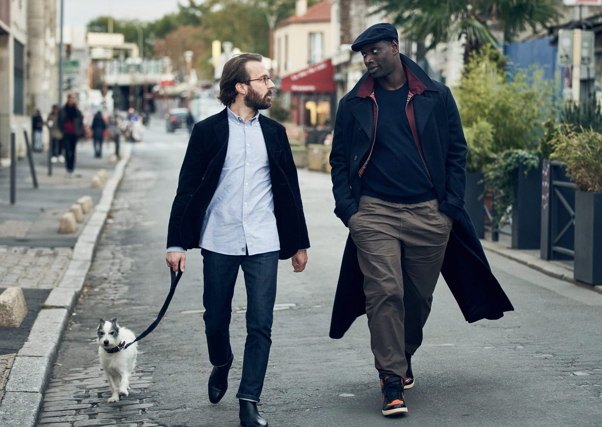 Antoine Gouy, left, and Omar Sy in 'Lupin'