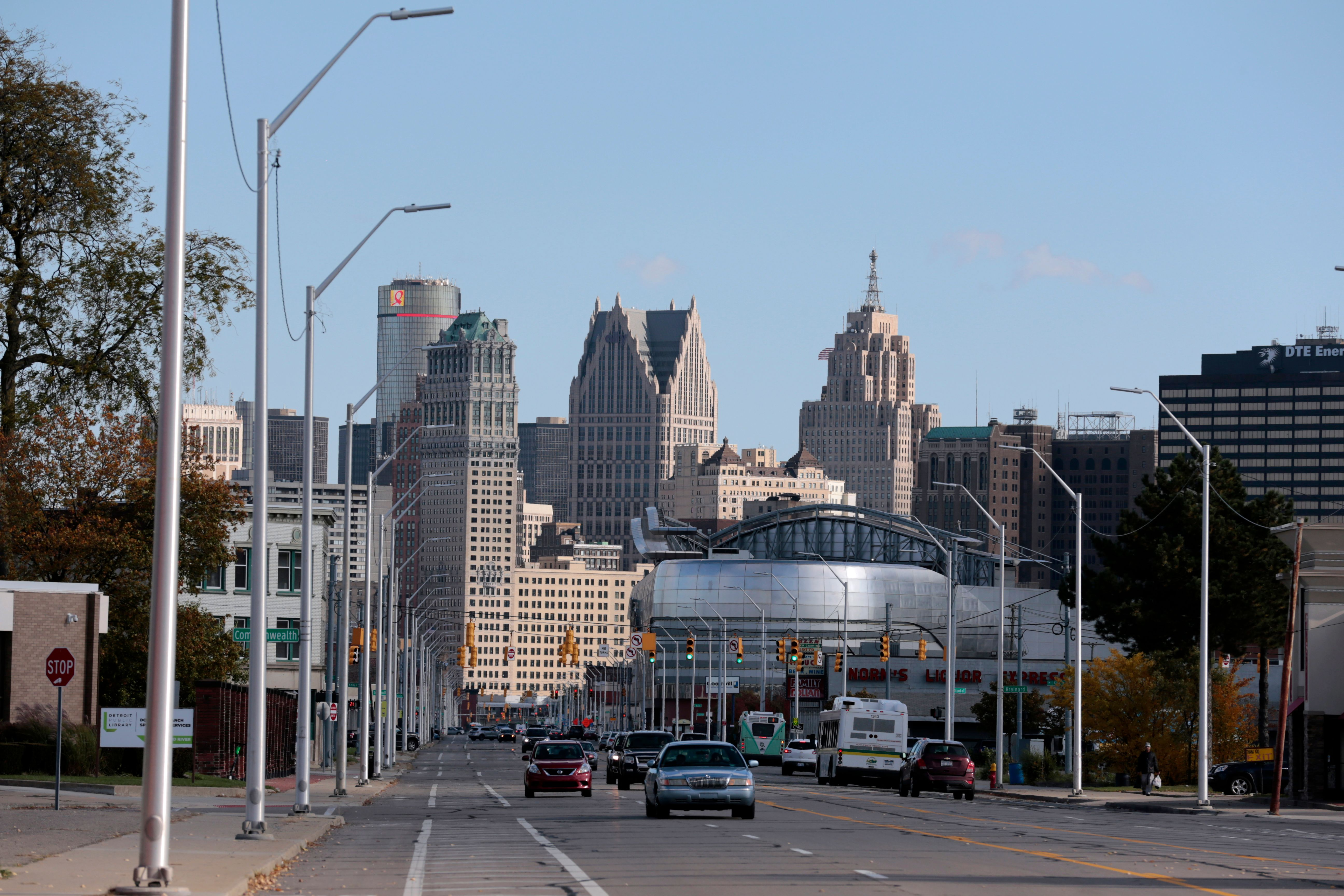 The Detroit, Mich., skyline is seen from Grand River Avenue on October 23, 2019. A new study says Detroit is the most segregated metropolitan area in the U.S.