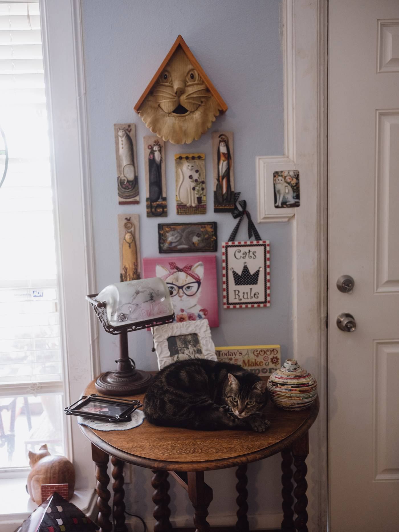 Nancy Thompson's cat keeps her company at home.