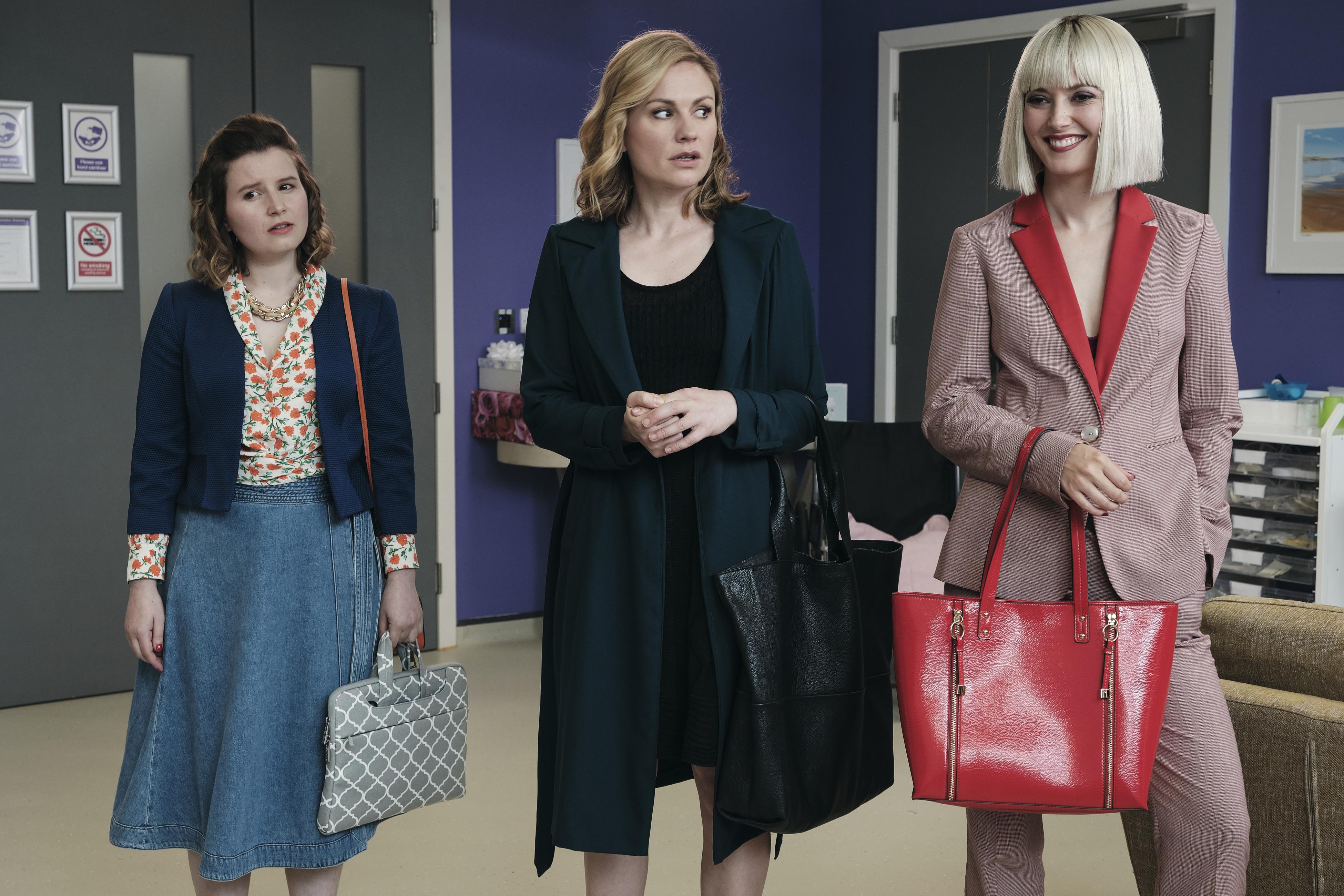 L-R: Rebecca Benson, Anna Paquin and Lydia Wilson in 'Flack'
